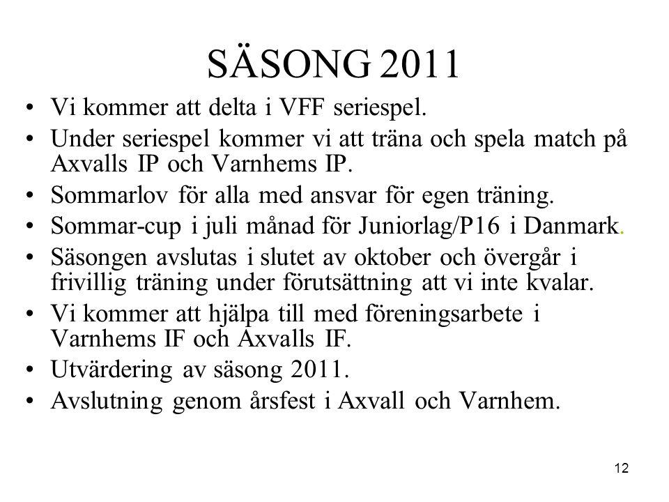 12 SÄSONG 2011 •Vi kommer att delta i VFF seriespel. •Under seriespel kommer vi att träna och spela match på Axvalls IP och Varnhems IP. •Sommarlov fö