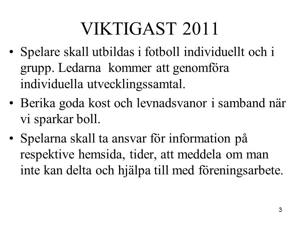 3 VIKTIGAST 2011 •Spelare skall utbildas i fotboll individuellt och i grupp. Ledarna kommer att genomföra individuella utvecklingssamtal. •Berika goda