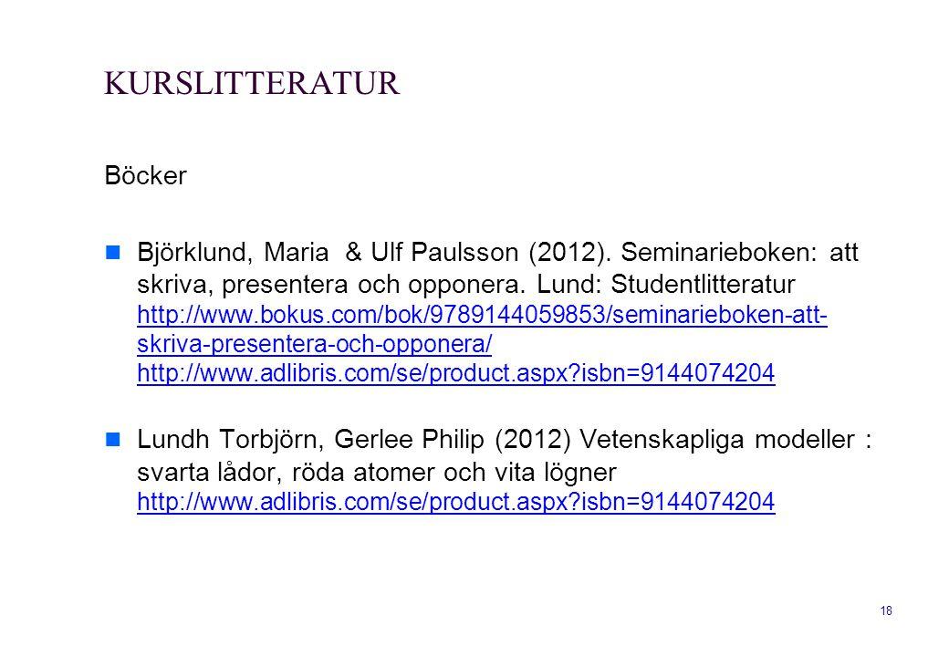 18 KURSLITTERATUR Böcker  Björklund, Maria & Ulf Paulsson (2012). Seminarieboken: att skriva, presentera och opponera. Lund: Studentlitteratur http:/