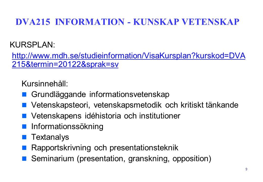 9 KURSPLAN: http://www.mdh.se/studieinformation/VisaKursplan?kurskod=DVA 215&termin=20122&sprak=sv Kursinnehåll:  Grundläggande informationsvetenskap