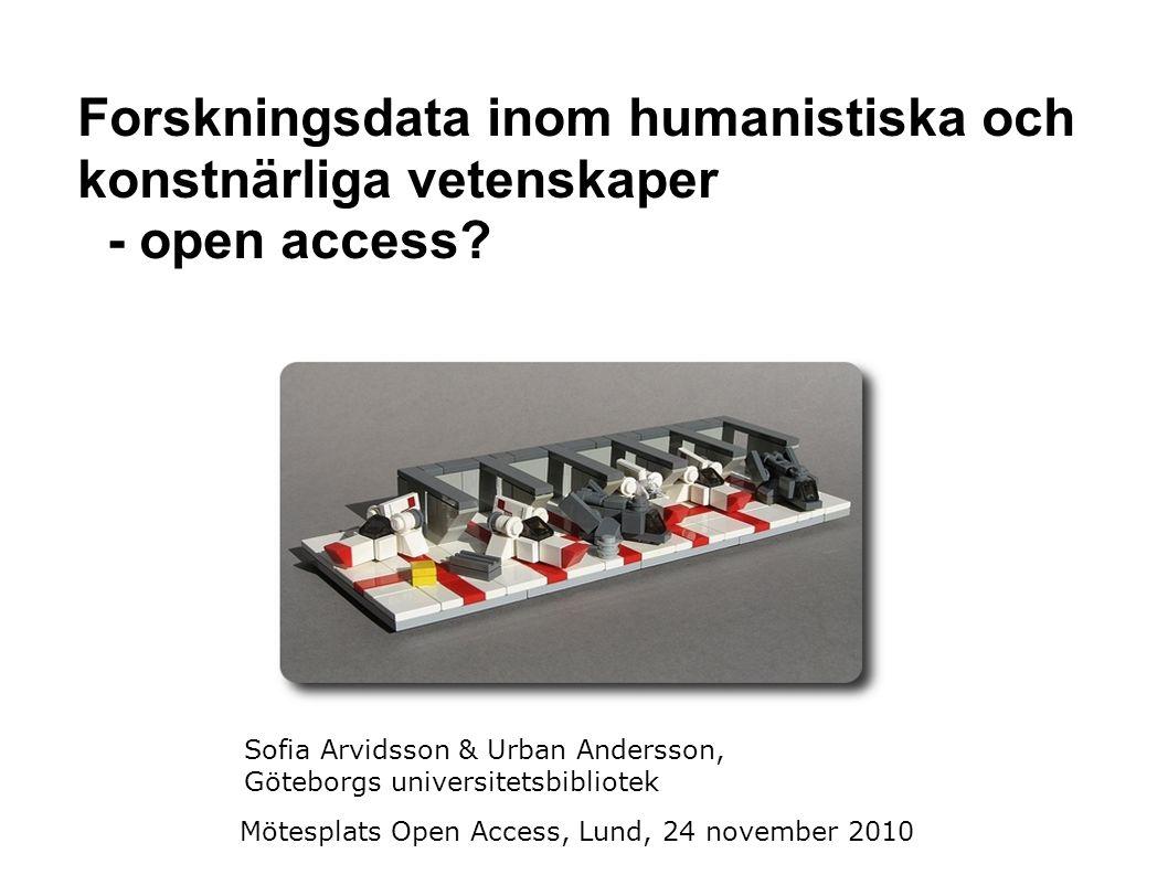 Projektets syfte Öka tillgängligheten av forskningsdata inom humaniora och konstnärliga vetenskaper.