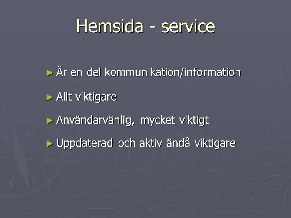 Hemsida - service ► Är en del kommunikation/information ► Allt viktigare ► Användarvänlig, mycket viktigt ► Uppdaterad och aktiv ändå viktigare