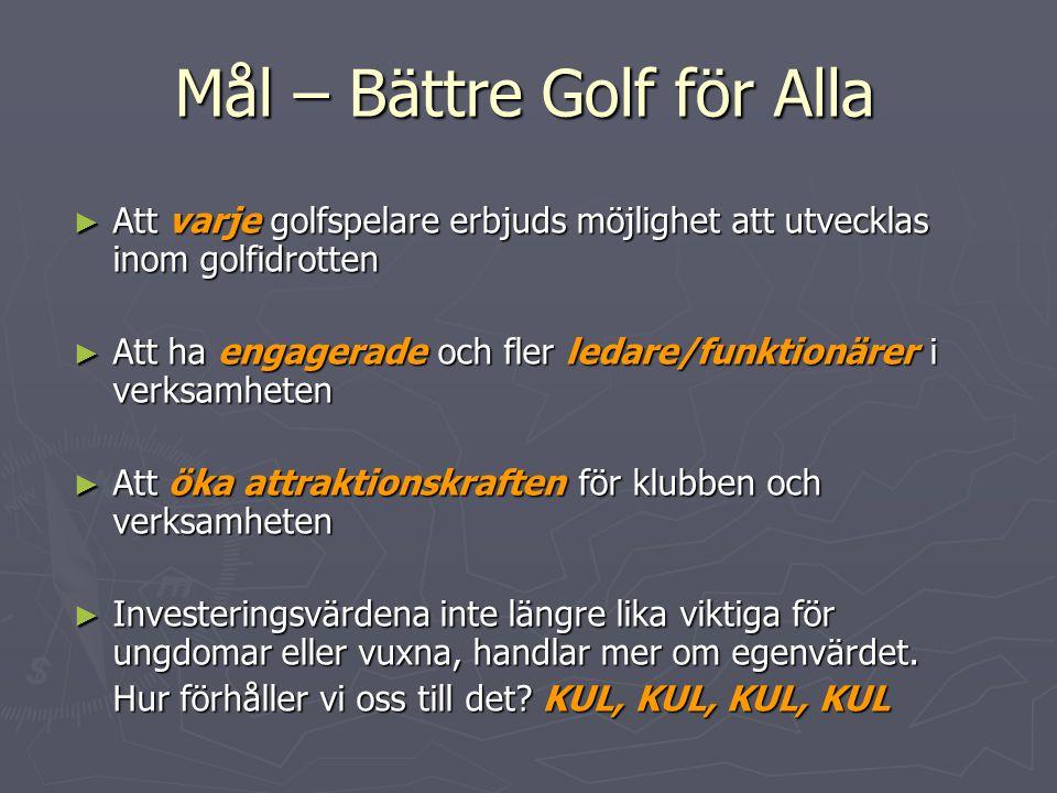 Mål – Bättre Golf för Alla ► Att varje golfspelare erbjuds möjlighet att utvecklas inom golfidrotten ► Att ha engagerade och fler ledare/funktionärer