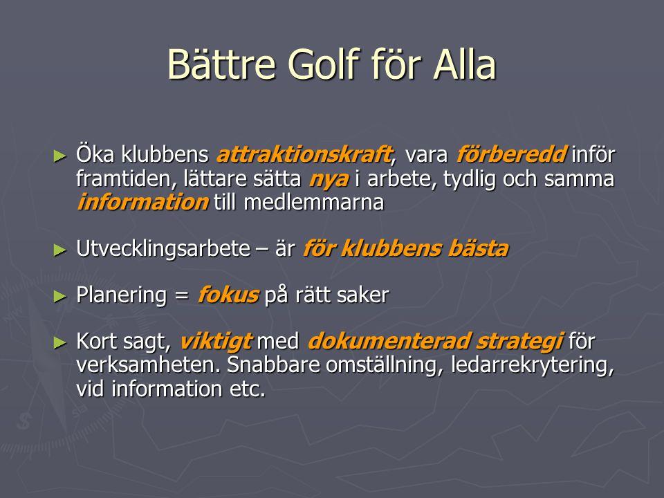 Bättre Golf för Alla ► Öka klubbens attraktionskraft, vara förberedd inför framtiden, lättare sätta nya i arbete, tydlig och samma information till me