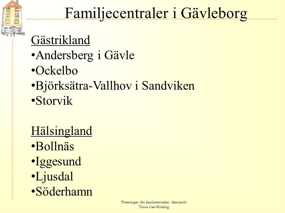 Föreningen för familjecentralers främjande Tinna Cars-Björling Familjecentraler i Gävleborg Gästrikland • Andersberg i Gävle • Ockelbo • Björksätra-Va