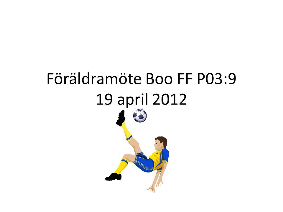 Föräldramöte Boo FF P03:9 19 april 2012