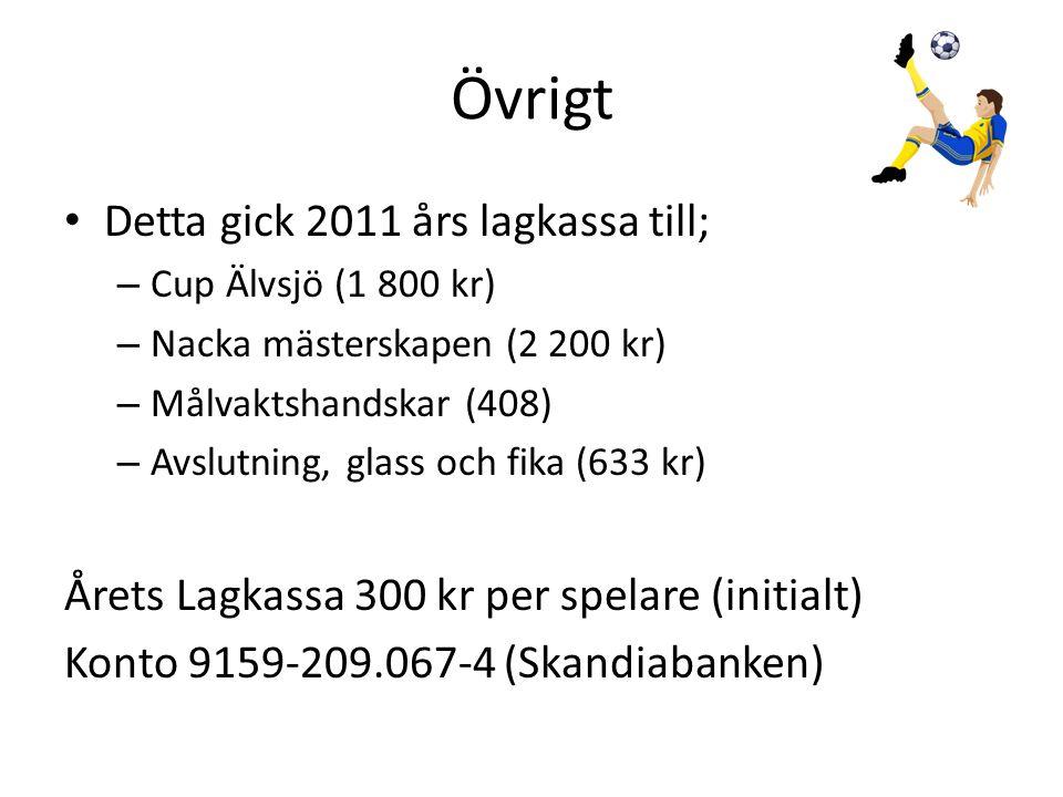 Övrigt • Detta gick 2011 års lagkassa till; – Cup Älvsjö (1 800 kr) – Nacka mästerskapen (2 200 kr) – Målvaktshandskar (408) – Avslutning, glass och f