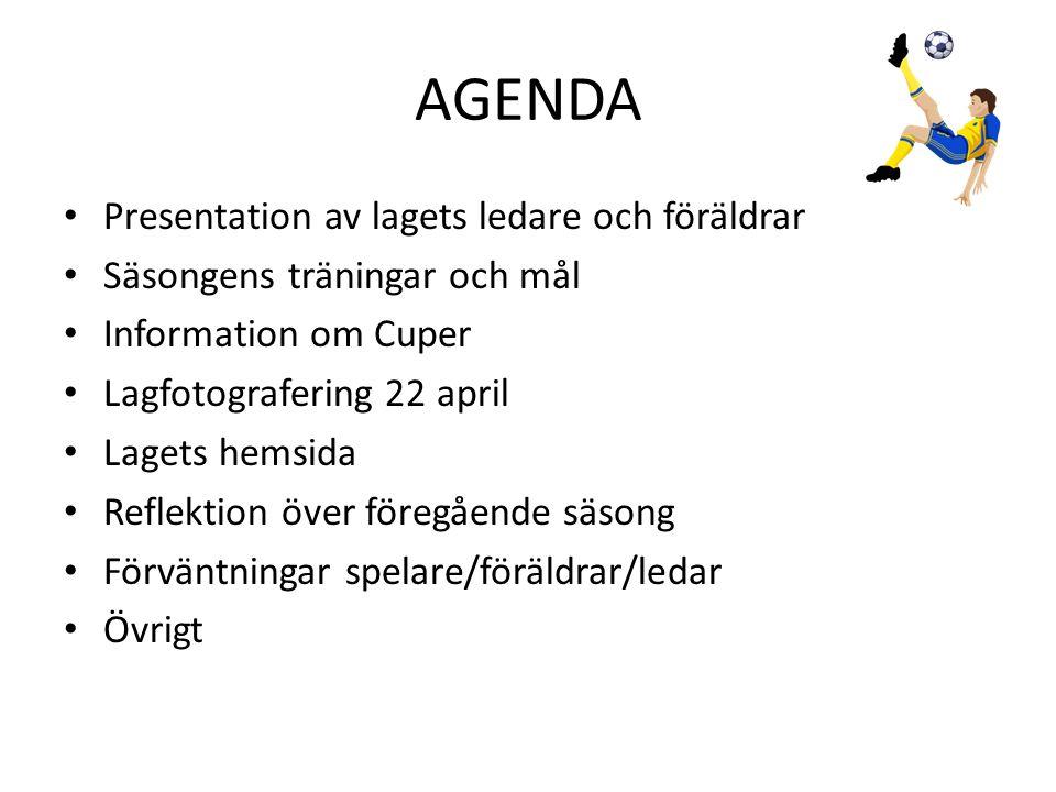 AGENDA • Presentation av lagets ledare och föräldrar • Säsongens träningar och mål • Information om Cuper • Lagfotografering 22 april • Lagets hemsida