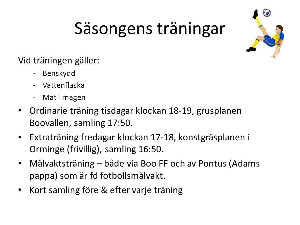 Övrigt • Detta gick 2011 års lagkassa till; – Cup Älvsjö (1 800 kr) – Nacka mästerskapen (2 200 kr) – Målvaktshandskar (408) – Avslutning, glass och fika (633 kr) Årets Lagkassa 300 kr per spelare (initialt) Konto 9159-209.067-4 (Skandiabanken)