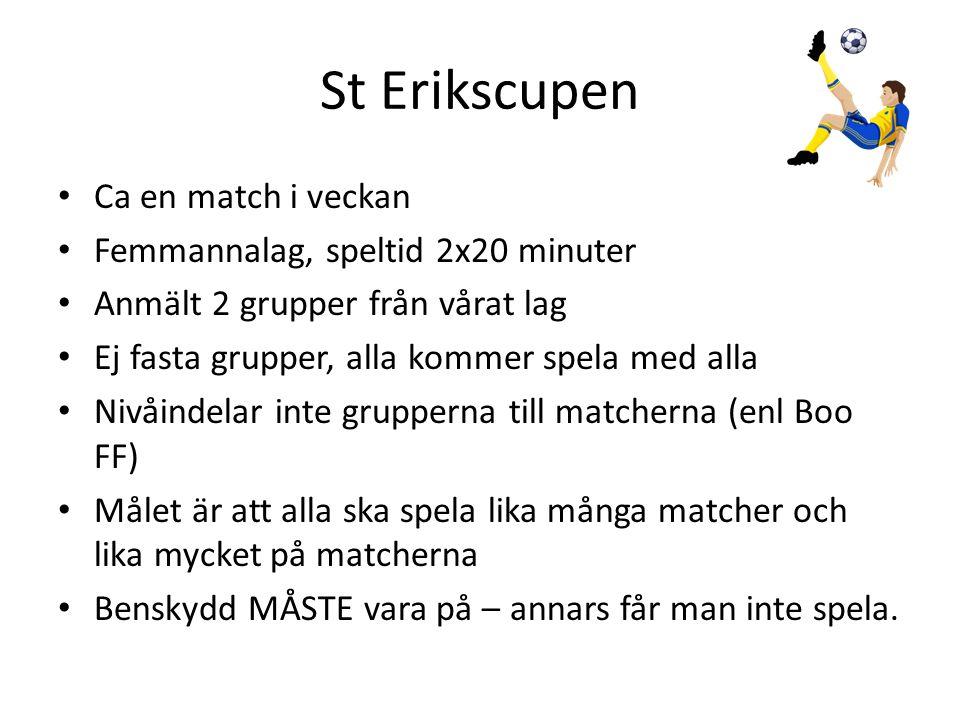 St Erikscupen • Ca en match i veckan • Femmannalag, speltid 2x20 minuter • Anmält 2 grupper från vårat lag • Ej fasta grupper, alla kommer spela med a