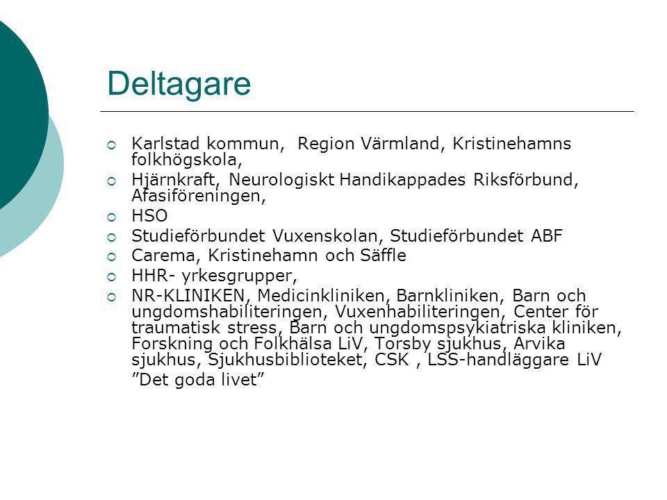 Deltagare  Karlstad kommun, Region Värmland, Kristinehamns folkhögskola,  Hjärnkraft, Neurologiskt Handikappades Riksförbund, Afasiföreningen,  HSO