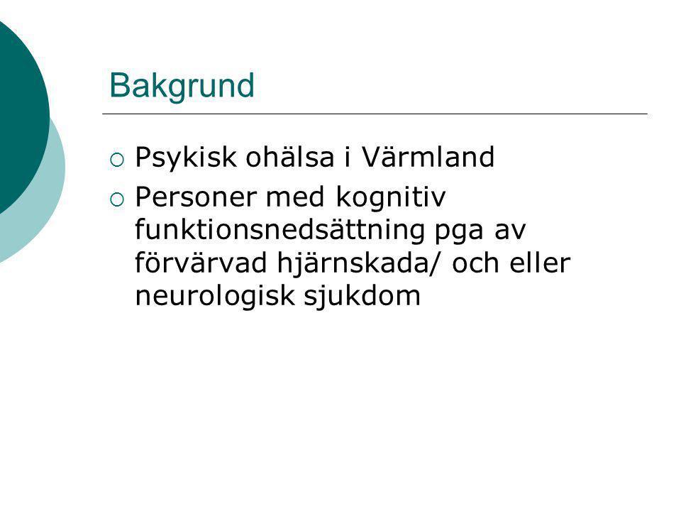 Bakgrund  Psykisk ohälsa i Värmland  Personer med kognitiv funktionsnedsättning pga av förvärvad hjärnskada/ och eller neurologisk sjukdom