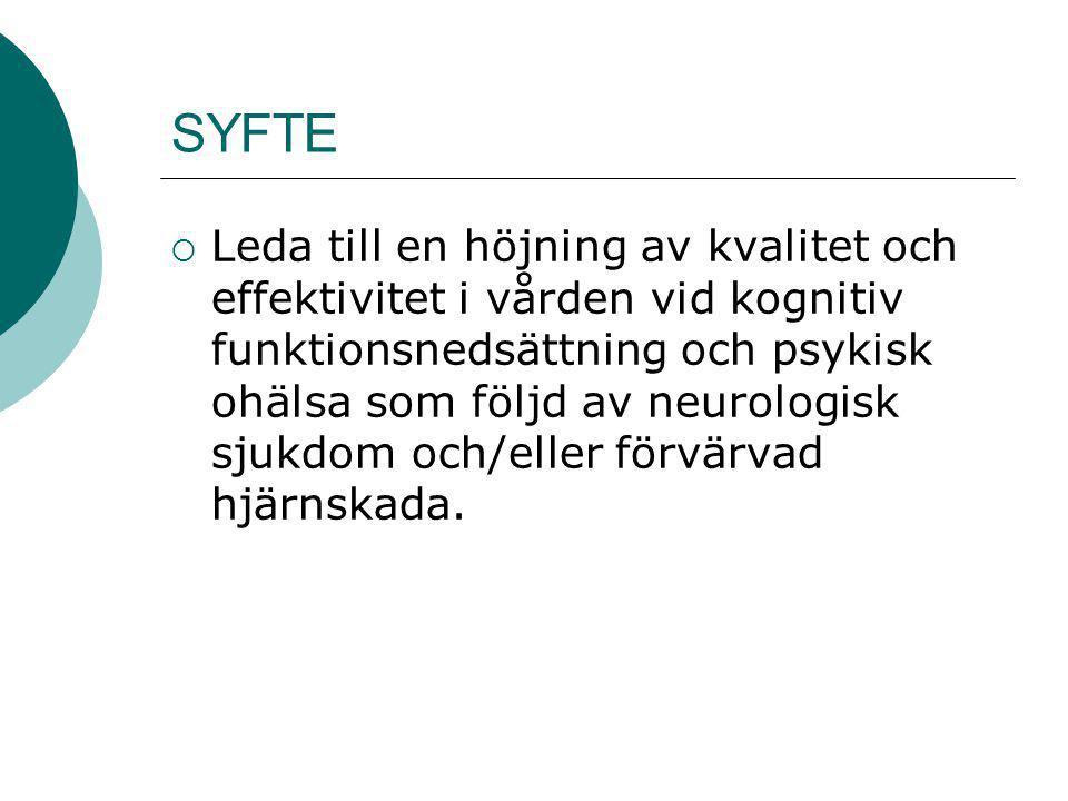 SYFTE  Leda till en höjning av kvalitet och effektivitet i vården vid kognitiv funktionsnedsättning och psykisk ohälsa som följd av neurologisk sjukd