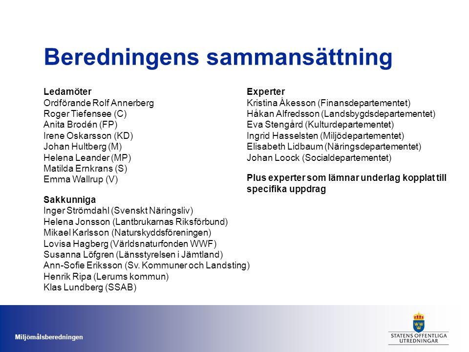 Miljömålsberedningen Ledamöter Ordförande Rolf Annerberg Roger Tiefensee (C) Anita Brodén (FP) Irene Oskarsson (KD) Johan Hultberg (M) Helena Leander