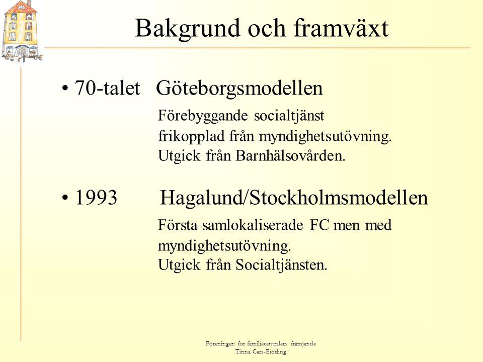 Föreningen för familjecentralers främjande Tinna Cars-Björling Bakgrund och framväxt • 70-talet Göteborgsmodellen Förebyggande socialtjänst frikopplad