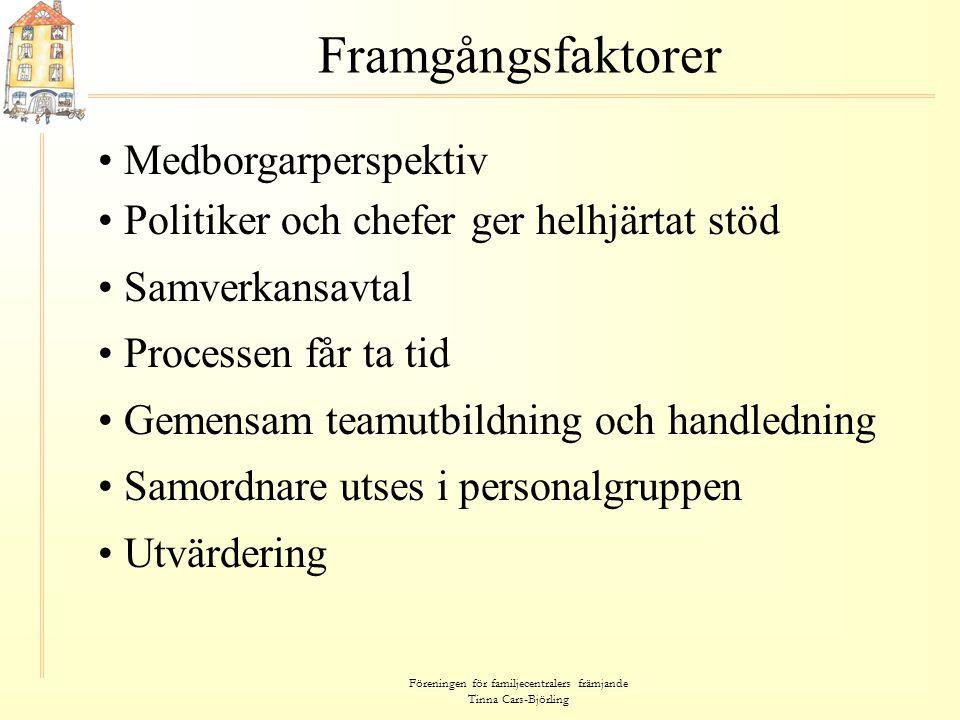 Föreningen för familjecentralers främjande Tinna Cars-Björling Framgångsfaktorer • Medborgarperspektiv • Politiker och chefer ger helhjärtat stöd • Sa