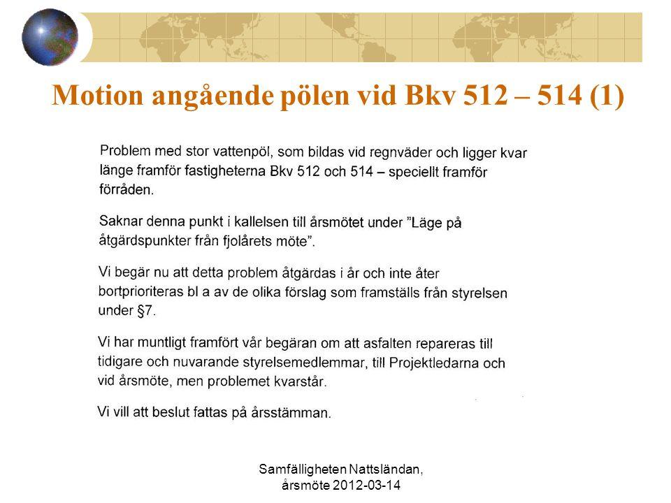 Motion angående pölen vid Bkv 512 – 514 (1) Samfälligheten Nattsländan, årsmöte 2012-03-14