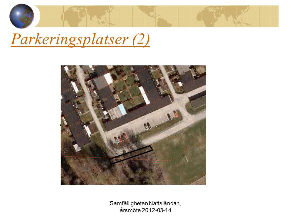 Parkeringsplatser (2) Samfälligheten Nattsländan, årsmöte 2012-03-14