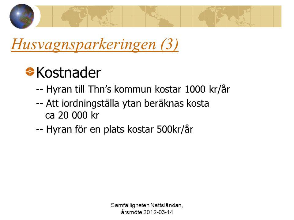 Husvagnsparkeringen (3) Kostnader -- Hyran till Thn's kommun kostar 1000 kr/år -- Att iordningställa ytan beräknas kosta ca 20 000 kr -- Hyran för en plats kostar 500kr/år Samfälligheten Nattsländan, årsmöte 2012-03-14