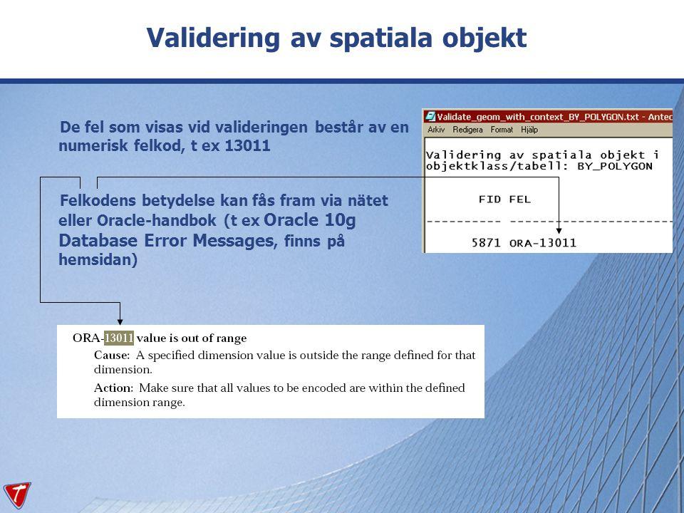 Validering av spatiala objekt De fel som visas vid valideringen består av en numerisk felkod, t ex 13011 Felkodens betydelse kan fås fram via nätet el