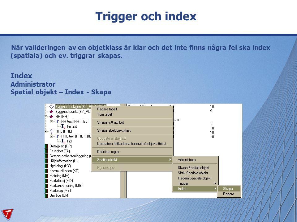 Trigger och index När valideringen av en objetklass är klar och det inte finns några fel ska index (spatiala) och ev. triggrar skapas. Index Administr