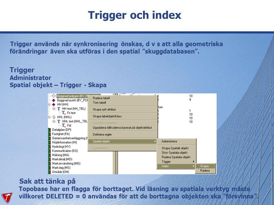 """Trigger och index Trigger används när synkronisering önskas, d v s att alla geometriska förändringar även ska utföras i den spatial """"skuggdatabasen""""."""