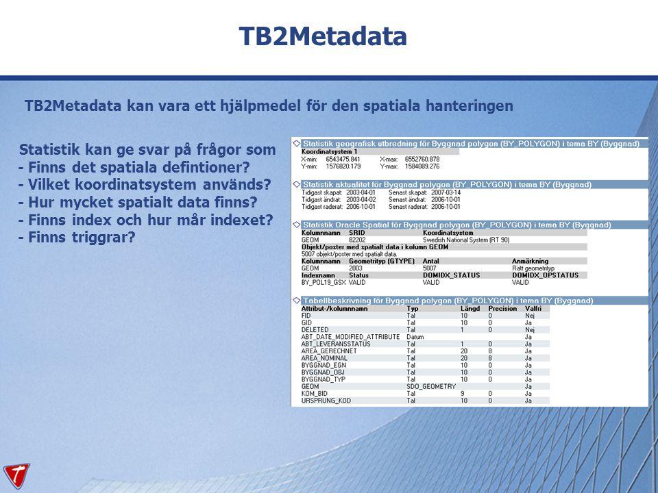 TB2Metadata TB2Metadata kan vara ett hjälpmedel för den spatiala hanteringen Statistik kan ge svar på frågor som - Finns det spatiala defintioner? - V