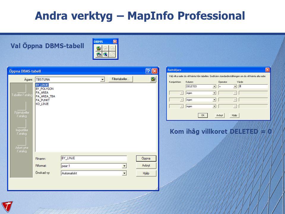 Andra verktyg – MapInfo Professional Val Öppna DBMS-tabell Kom ihåg villkoret DELETED = 0