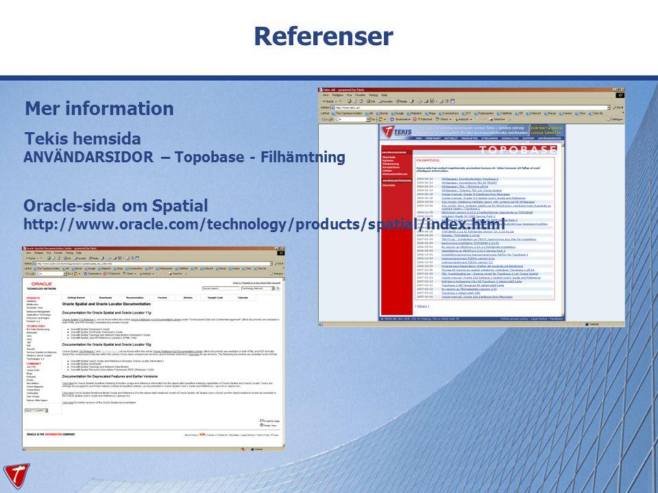 Referenser Mer information Tekis hemsida ANVÄNDARSIDOR – Topobase - Filhämtning Oracle-sida om Spatial http://www.oracle.com/technology/products/spati