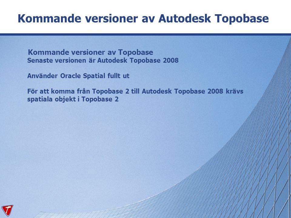 Kommande versioner av Topobase Senaste versionen är Autodesk Topobase 2008 Använder Oracle Spatial fullt ut För att komma från Topobase 2 till Autodes