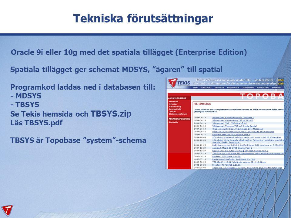 """Oracle 9i eller 10g med det spatiala tillägget (Enterprise Edition) Spatiala tillägget ger schemat MDSYS, """"ägaren"""" till spatial Programkod laddas ned"""
