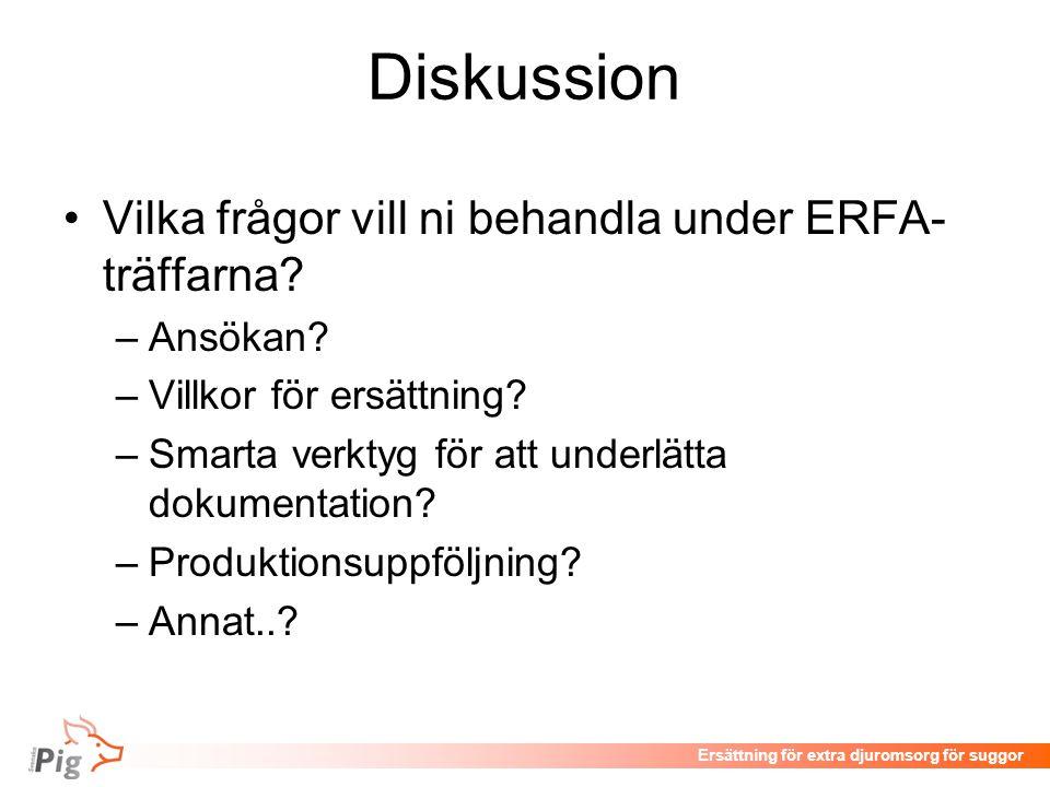 Diskussion •Vilka frågor vill ni behandla under ERFA- träffarna.