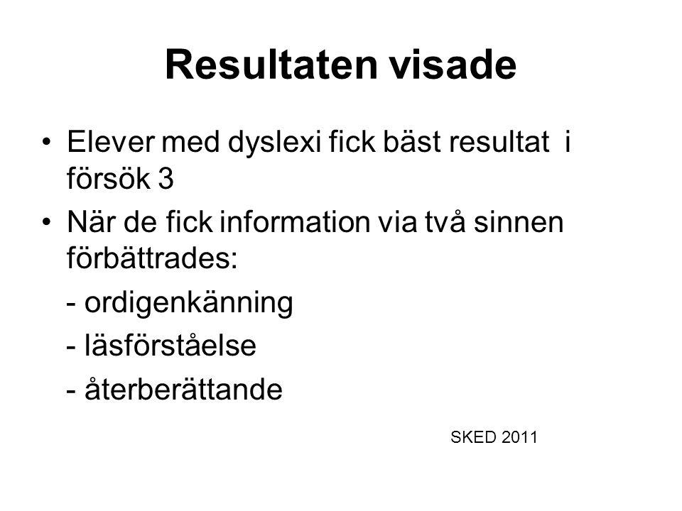 Resultaten visade •Elever med dyslexi fick bäst resultat i försök 3 •När de fick information via två sinnen förbättrades: - ordigenkänning - läsförståelse - återberättande SKED 2011