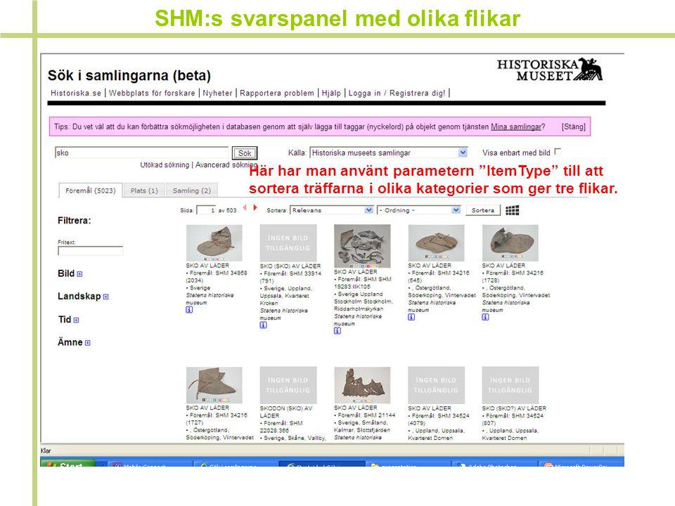 """SHM:s svarspanel med olika flikar Här har man använt parametern """"ItemType"""" till att sortera träffarna i olika kategorier som ger tre flikar."""