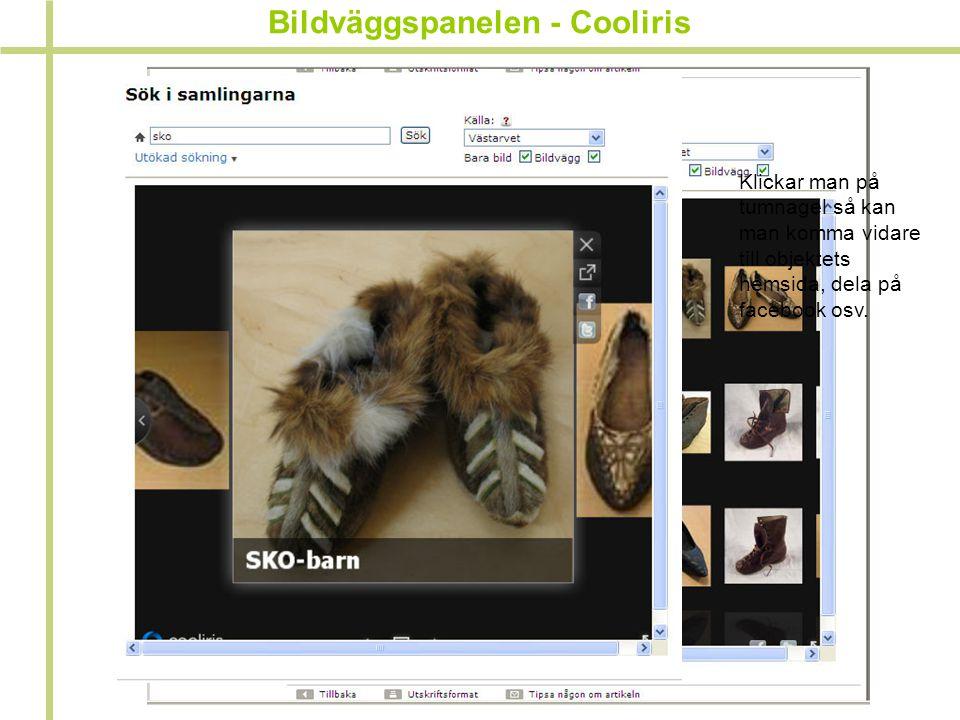 Bildväggspanelen - Cooliris Klickar man på tumnagel så kan man komma vidare till objektets hemsida, dela på facebook osv.