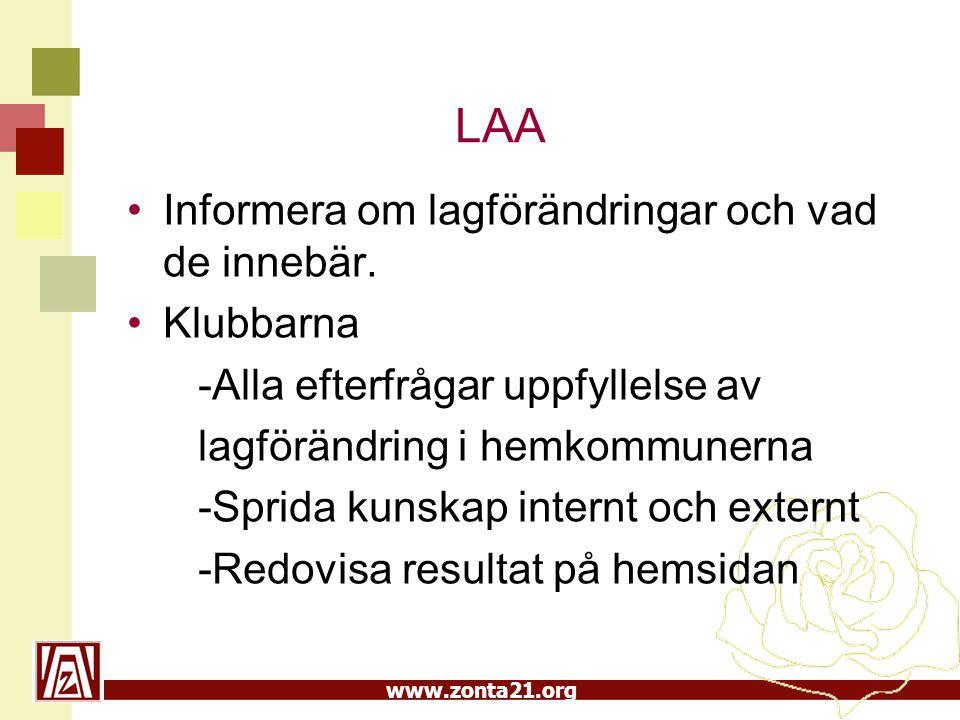 www.zonta21.org LAA •Informera om lagförändringar och vad de innebär. •Klubbarna -Alla efterfrågar uppfyllelse av lagförändring i hemkommunerna -Sprid