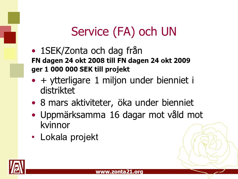 www.zonta21.org Service (FA) och UN •1SEK/Zonta och dag från FN dagen 24 okt 2008 till FN dagen 24 okt 2009 ger 1 000 000 SEK till projekt •+ ytterlig