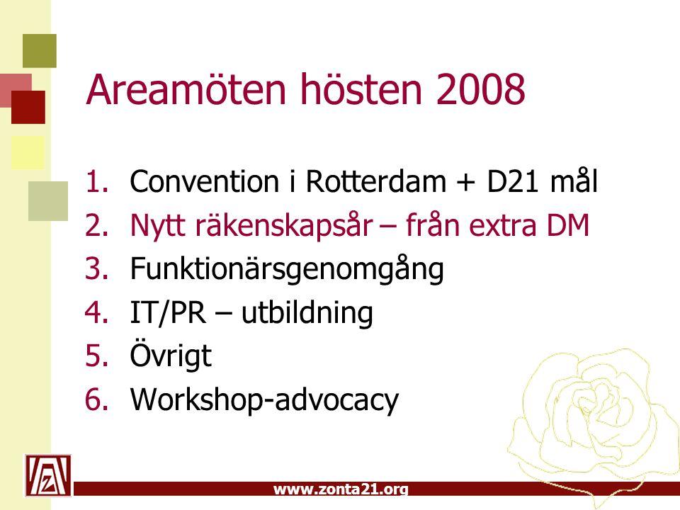 www.zonta21.org Areamöten hösten 2008 1.Convention i Rotterdam + D21 mål 2.Nytt räkenskapsår – från extra DM 3.Funktionärsgenomgång 4.IT/PR – utbildni