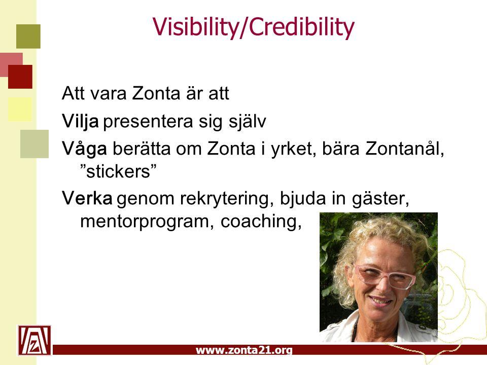 www.zonta21.org Visibility/Credibility •Mini-egon på nätet •Visa/skriv om aktuella/kända Zontor •Uppmärksamma FN-dagen och 8 mars •Mentorprogram •Mäta antal artiklar i tidningar om Zonta