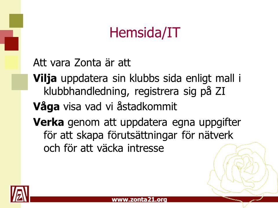 www.zonta21.org Hemsida/IT •Innan bienniets slut ska 60 % av klubbarna vara uppdaterade på hemsidan •Visa vad vi åstadkommit- t ex tre större aktiviteter •Att 60 % zontor i D21 kan logga in sig på vår hemsida samt har registrerat sig på ZI
