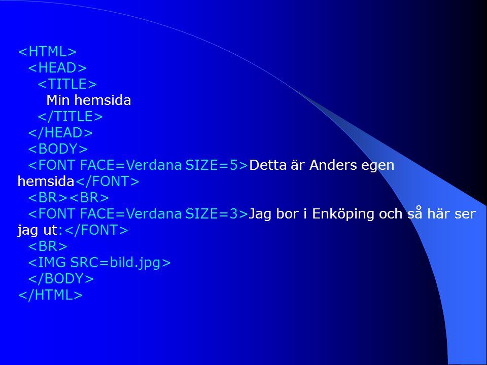 Min hemsida Detta är Anders egen hemsida Jag bor i Enköping och så här ser jag ut: