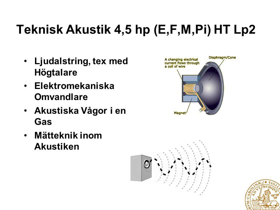 Strukturakustik 9p (V4,E,F…) HT Lp1-2 • Utbredning av Strukturakustika Vågor i ett Fast Medium • Longitudinella, Transversella och Böjvågor i Stänger, Balkar och Plattor • Teoretisk/Matematisk Modellering