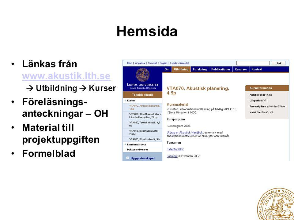 Hemsida • Länkas från www.akustik.lth.se www.akustik.lth.se  Utbildning  Kurser • Föreläsnings- anteckningar – OH • Material till projektuppgiften •