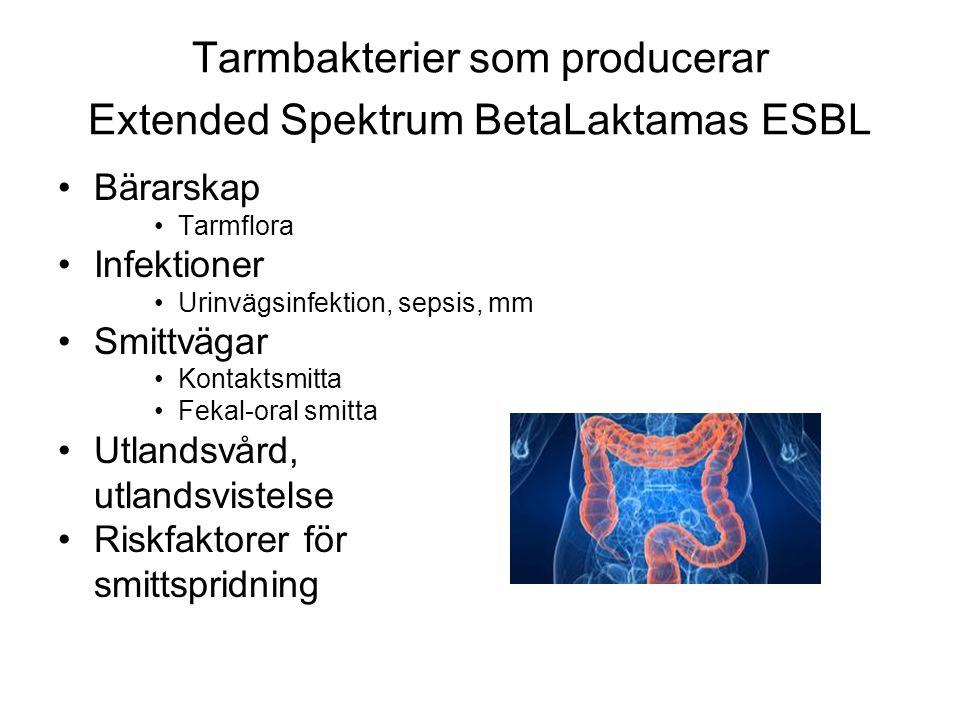 Tarmbakterier som producerar Extended Spektrum BetaLaktamas ESBL •Bärarskap •Tarmflora •Infektioner •Urinvägsinfektion, sepsis, mm •Smittvägar •Kontaktsmitta •Fekal-oral smitta •Utlandsvård, utlandsvistelse •Riskfaktorer för smittspridning