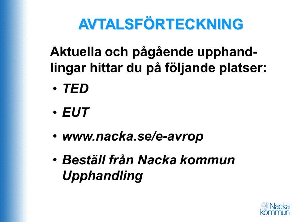 AVTALSFÖRTECKNING •TED • EUT •www.nacka.se/e-avrop • Beställ från Nacka kommun Upphandling Aktuella och pågående upphand- lingar hittar du på följande