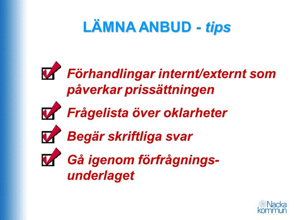 LÄMNA ANBUD - tips Förhandlingar internt/externt som påverkar prissättningen Frågelista över oklarheter Begär skriftliga svar Gå igenom förfrågnings-