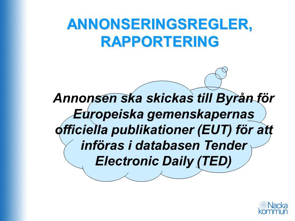 ANNONSERINGSREGLER, RAPPORTERING Annonsen ska skickas till Byrån för Europeiska gemenskapernas officiella publikationer (EUT) för att införas i databa
