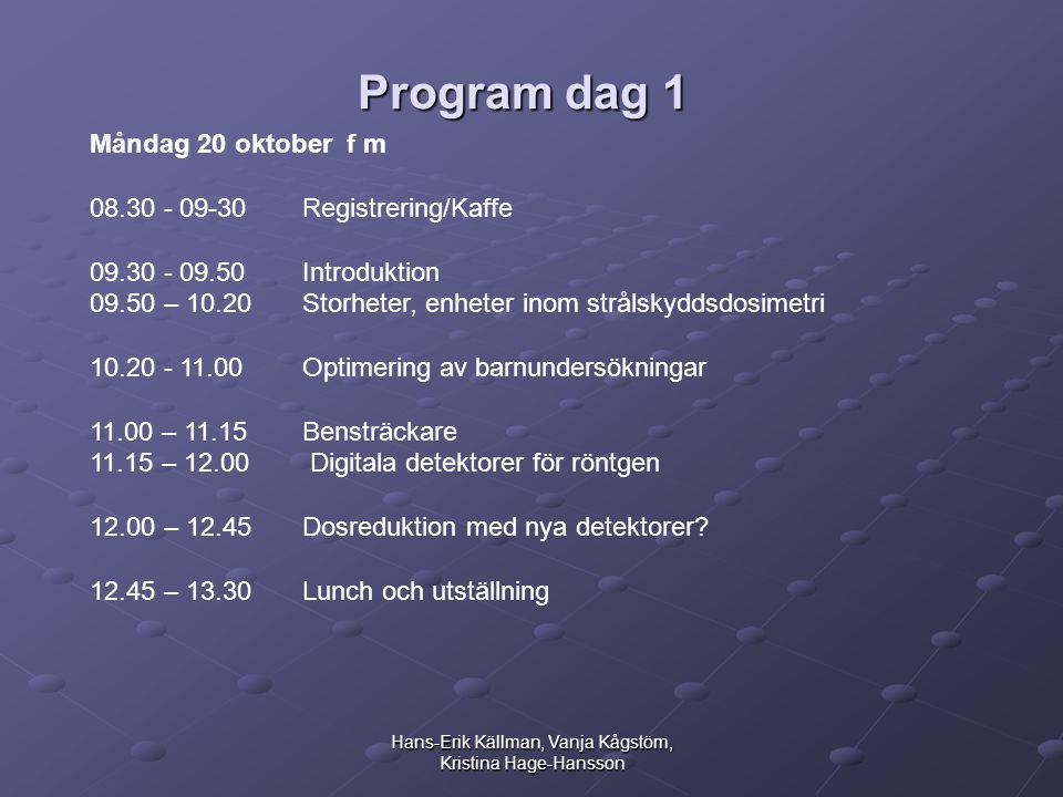 Hans-Erik Källman, Vanja Kågstöm, Kristina Hage-Hansson Program dag 1 Måndag 20 oktober f m 08.30 - 09-30 Registrering/Kaffe 09.30 - 09.50 Introduktion 09.50 – 10.20 Storheter, enheter inom strålskyddsdosimetri 10.20 - 11.00 Optimering av barnundersökningar 11.00 – 11.15 Bensträckare 11.15 – 12.00 Digitala detektorer för röntgen 12.00 – 12.45 Dosreduktion med nya detektorer.