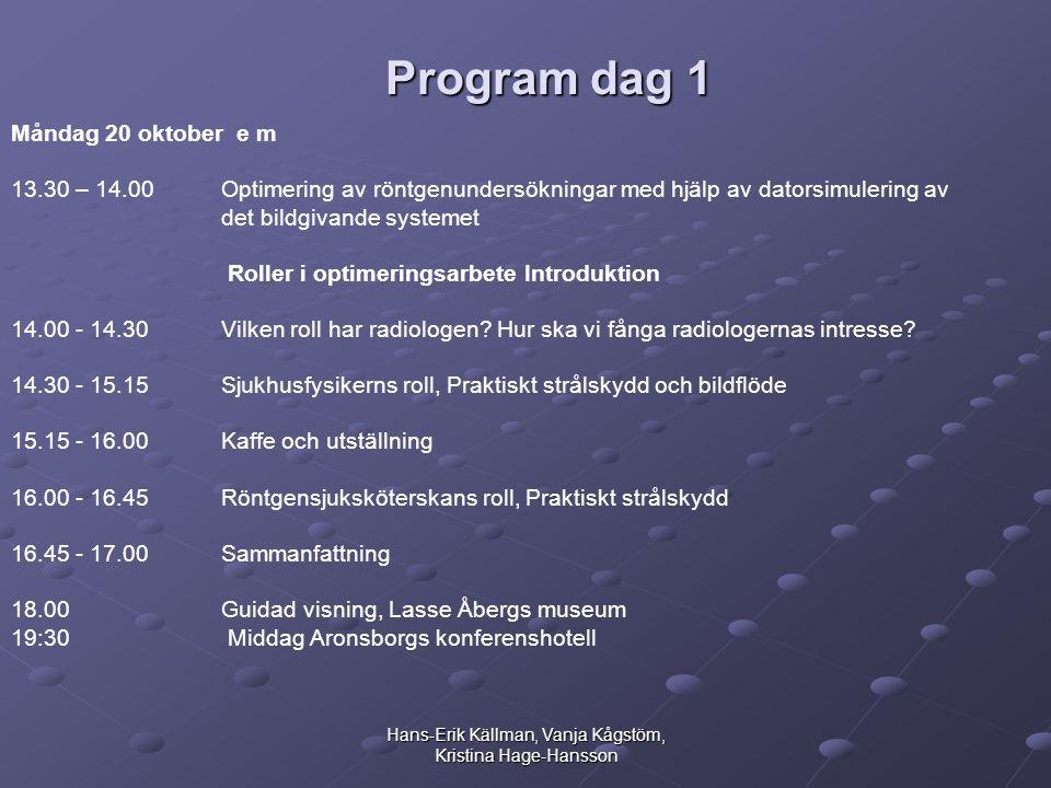 Hans-Erik Källman, Vanja Kågstöm, Kristina Hage-Hansson Program dag 1 Måndag 20 oktober e m 13.30 – 14.00 Optimering av röntgenundersökningar med hjälp av datorsimulering av det bildgivande systemet Roller i optimeringsarbete Introduktion 14.00 - 14.30 Vilken roll har radiologen.