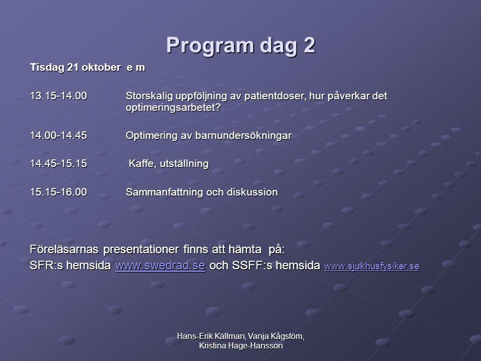 Hans-Erik Källman, Vanja Kågstöm, Kristina Hage-Hansson Program dag 2 Tisdag 21 oktober e m 13.15-14.00 Storskalig uppföljning av patientdoser, hur påverkar det optimeringsarbetet.